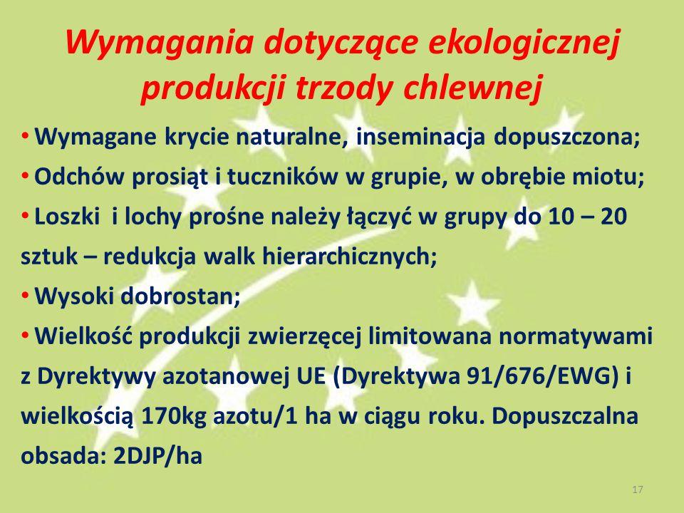 Wymagania dotyczące ekologicznej produkcji trzody chlewnej Wymagane krycie naturalne, inseminacja dopuszczona; Odchów prosiąt i tuczników w grupie, w obrębie miotu; Loszki i lochy prośne należy łączyć w grupy do 10 – 20 sztuk – redukcja walk hierarchicznych; Wysoki dobrostan; Wielkość produkcji zwierzęcej limitowana normatywami z Dyrektywy azotanowej UE (Dyrektywa 91/676/EWG) i wielkością 170kg azotu/1 ha w ciągu roku.