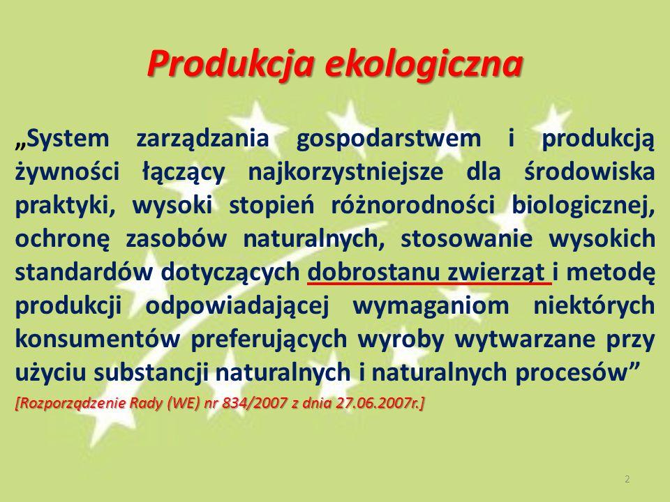 """Produkcja ekologiczna """"System zarządzania gospodarstwem i produkcją żywności łączący najkorzystniejsze dla środowiska praktyki, wysoki stopień różnorodności biologicznej, ochronę zasobów naturalnych, stosowanie wysokich standardów dotyczących dobrostanu zwierząt i metodę produkcji odpowiadającej wymaganiom niektórych konsumentów preferujących wyroby wytwarzane przy użyciu substancji naturalnych i naturalnych procesów [Rozporządzenie Rady (WE) nr 834/2007 z dnia 27.06.2007r.] 2"""