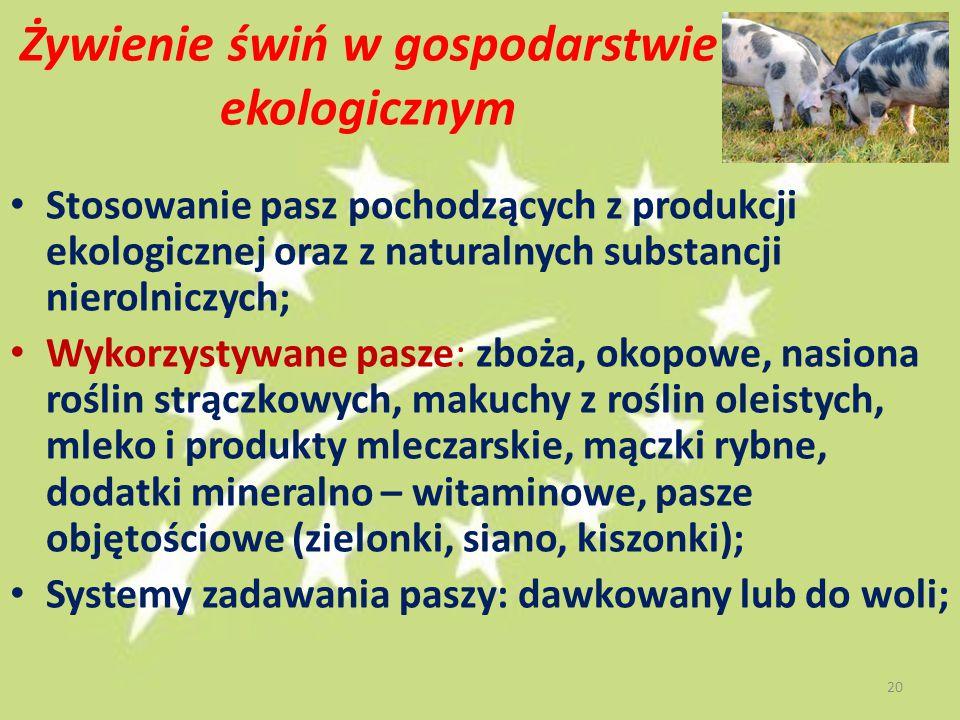 Żywienie świń w gospodarstwie ekologicznym Stosowanie pasz pochodzących z produkcji ekologicznej oraz z naturalnych substancji nierolniczych; Wykorzys