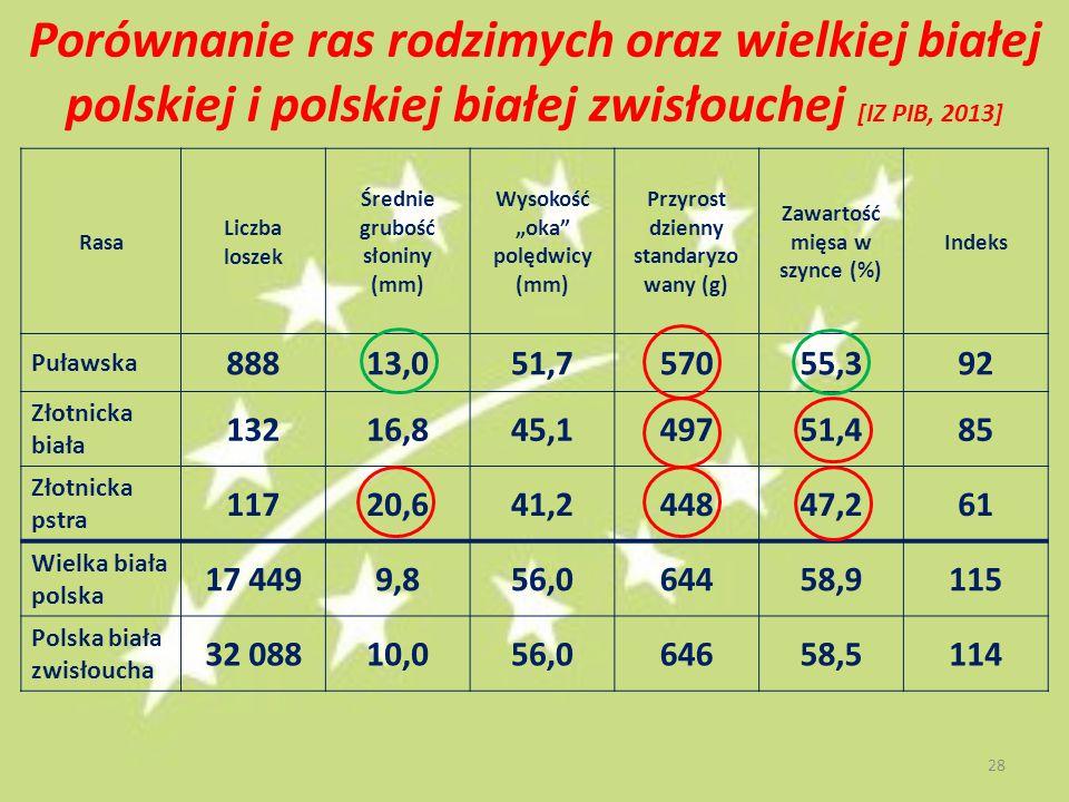 """Porównanie ras rodzimych oraz wielkiej białej polskiej i polskiej białej zwisłouchej [IZ PIB, 2013] Rasa Liczba loszek Średnie grubość słoniny (mm) Wysokość """"oka polędwicy (mm) Przyrost dzienny standaryzo wany (g) Zawartość mięsa w szynce (%) Indeks Puławska 88813,051,757055,392 Złotnicka biała 13216,845,149751,485 Złotnicka pstra 11720,641,244847,261 Wielka biała polska 17 4499,856,064458,9115 Polska biała zwisłoucha 32 08810,056,064658,5114 28"""
