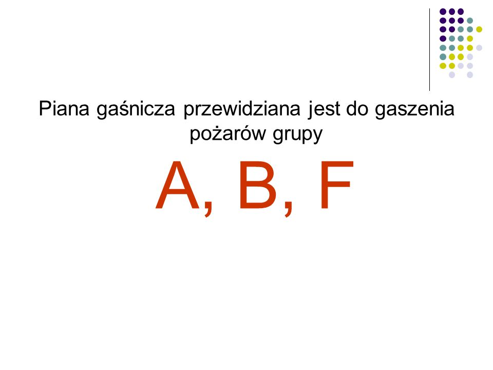 Piana gaśnicza przewidziana jest do gaszenia pożarów grupy A, B, F