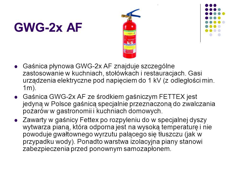 GWG-2x AF Gaśnica płynowa GWG-2x AF znajduje szczególne zastosowanie w kuchniach, stołówkach i restauracjach. Gasi urządzenia elektryczne pod napięcie
