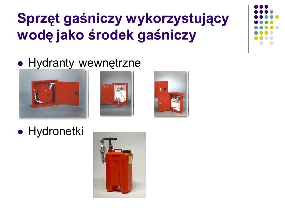 Sprzęt gaśniczy wykorzystujący wodę jako środek gaśniczy Hydranty wewnętrzne Hydronetki