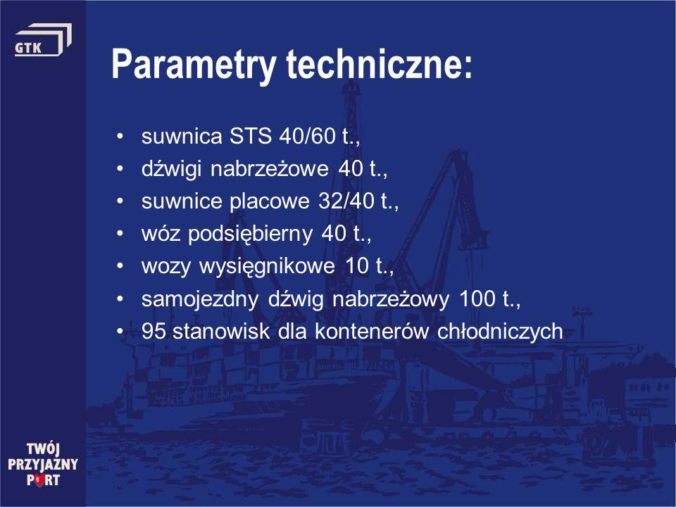 Parametry techniczne: suwnica STS 40/60 t., dźwigi nabrzeżowe 40 t., suwnice placowe 32/40 t., wóz podsiębierny 40 t., wozy wysięgnikowe 10 t., samoje
