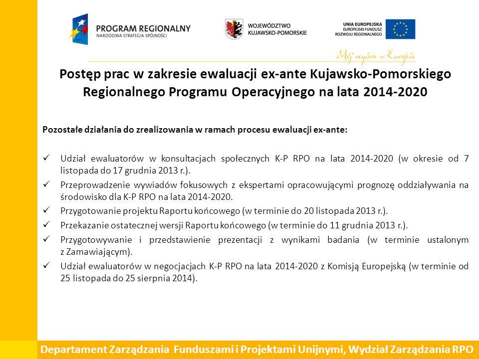 Postęp prac w zakresie ewaluacji ex-ante Kujawsko-Pomorskiego Regionalnego Programu Operacyjnego na lata 2014-2020 Pozostałe działania do zrealizowania w ramach procesu ewaluacji ex-ante: Udział ewaluatorów w konsultacjach społecznych K-P RPO na lata 2014-2020 (w okresie od 7 listopada do 17 grudnia 2013 r.).