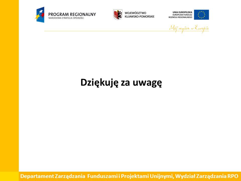 Dziękuję za uwagę Departament Zarządzania Funduszami i Projektami Unijnymi, Wydział Zarządzania RPO