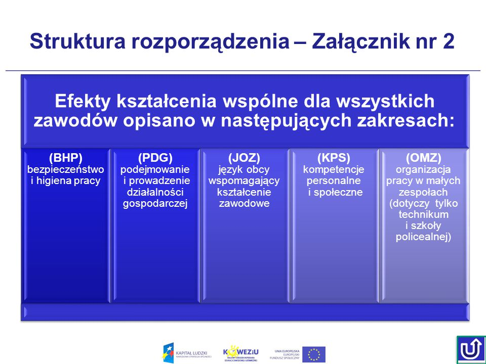 Struktura rozporządzenia – Załącznik nr 2 Efekty kształcenia wspólne dla wszystkich zawodów opisano w następujących zakresach: (BHP) bezpieczeństwo i higiena pracy (PDG) podejmowanie i prowadzenie działalności gospodarczej (JOZ) język obcy wspomagający kształcenie zawodowe (KPS) kompetencje personalne i społeczne (OMZ) organizacja pracy w małych zespołach (dotyczy tylko technikum i szkoły policealnej)