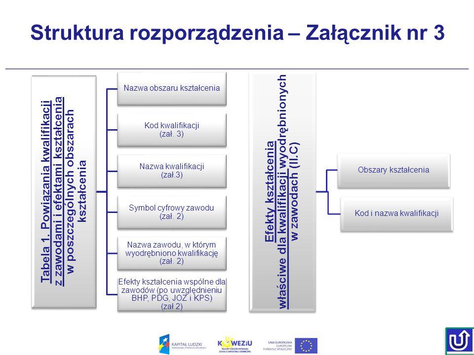 Struktura rozporządzenia – Załącznik nr 3 Tabela 1. Powiązania kwalifikacji z zawodami i efektami kształcenia Tabela 1. Powiązania kwalifikacji z zawo