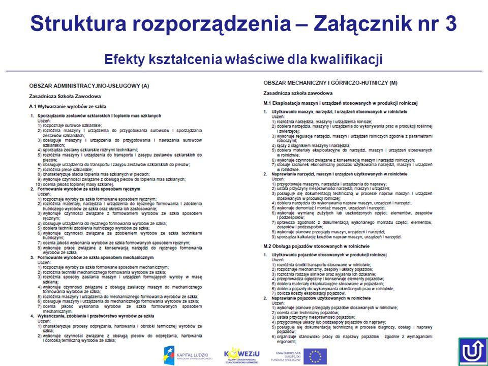 Struktura rozporządzenia – Załącznik nr 3 Efekty kształcenia właściwe dla kwalifikacji