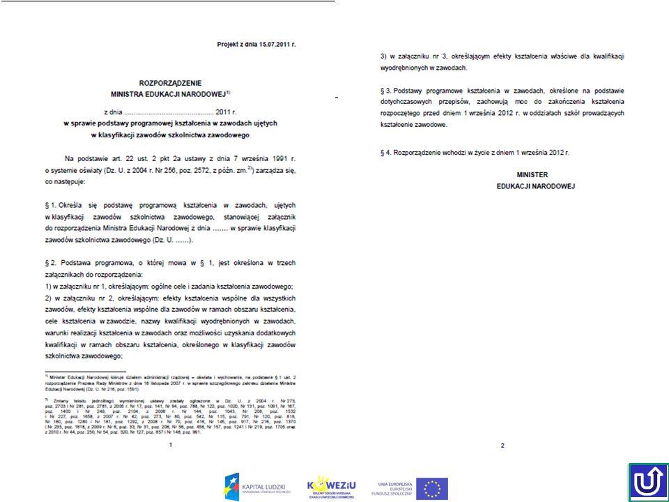 Struktura rozporządzenia – Załącznik nr 1 Ogólne cele i zadania kształcenia zawodowego Nazwy obszarów kształcenia Struktura podstawy programowej kształcenia w zawodzieStruktura podstawy programowej kształcenia w zawodzie Planowanie kształcenia zawodowego