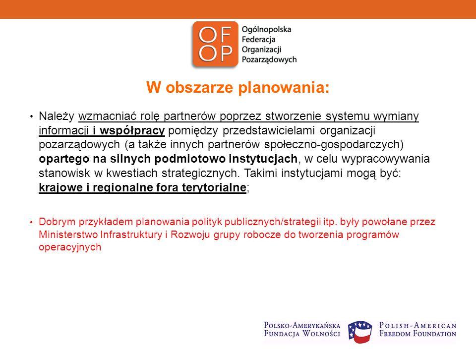 W obszarze planowania: Należy wzmacniać rolę partnerów poprzez stworzenie systemu wymiany informacji i współpracy pomiędzy przedstawicielami organizacji pozarządowych (a także innych partnerów społeczno-gospodarczych) opartego na silnych podmiotowo instytucjach, w celu wypracowywania stanowisk w kwestiach strategicznych.