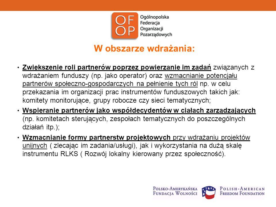 W obszarze wdrażania: Zwiększenie roli partnerów poprzez powierzanie im zadań związanych z wdrażaniem funduszy (np.