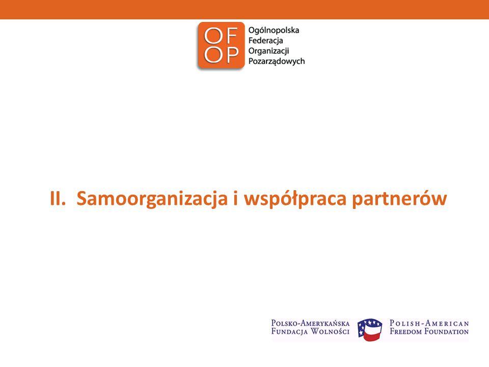 Współpraca partnerów - zwiększenie roli instrumentów partnerstwa Wzmocnienie prelogatyw Grupy roboczej ds.