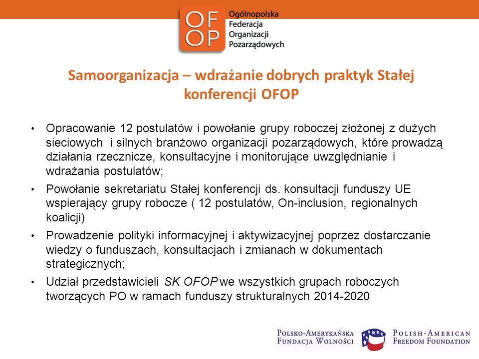 Samoorganizacja – wdrażanie dobrych praktyk Stałej konferencji OFOP Opracowanie 12 postulatów i powołanie grupy roboczej złożonej z dużych sieciowych i silnych branżowo organizacji pozarządowych, które prowadzą działania rzecznicze, konsultacyjne i monitorujące uwzględnianie i wdrażania postulatów; Powołanie sekretariatu Stałej konferencji ds.