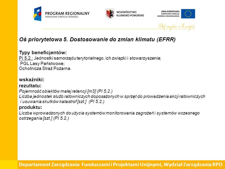 Oś priorytetowa 5. Dostosowanie do zmian klimatu (EFRR) Typy beneficjentów: PI 5.2.: Jednostki samorządu terytorialnego, ich związki i stowarzyszenia;