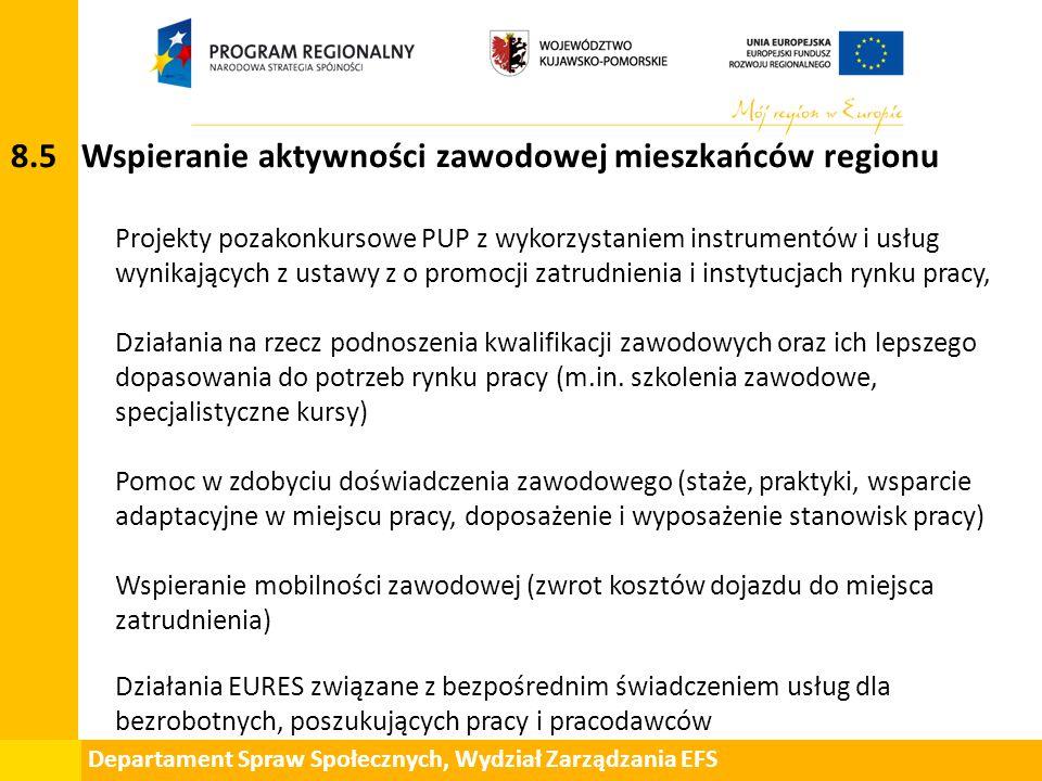Departament Spraw Społecznych, Wydział Zarządzania EFS 8.5 Wspieranie aktywności zawodowej mieszkańców regionu Projekty pozakonkursowe PUP z wykorzyst
