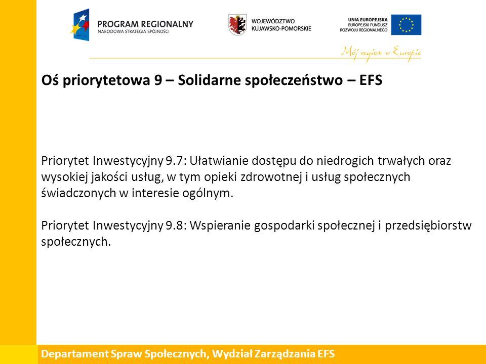 Departament Spraw Społecznych, Wydział Zarządzania EFS Oś priorytetowa 9 – Solidarne społeczeństwo – EFS Priorytet Inwestycyjny 9.7: Ułatwianie dostęp