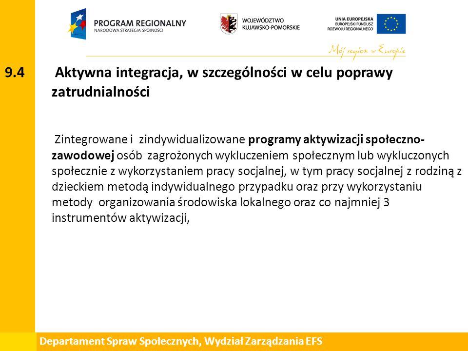 Departament Spraw Społecznych, Wydział Zarządzania EFS 9.4 Aktywna integracja, w szczególności w celu poprawy zatrudnialności Zintegrowane i zindywidu