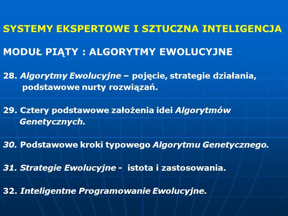 SYSTEMY EKSPERTOWE I SZTUCZNA INTELIGENCJA MODUŁ PIĄTY : ALGORYTMY EWOLUCYJNE 28.