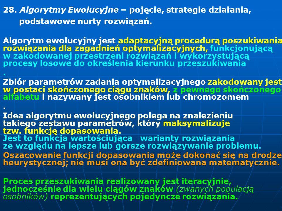 28.Algorytmy Ewolucyjne – pojęcie, strategie działania, podstawowe nurty rozwiązań.