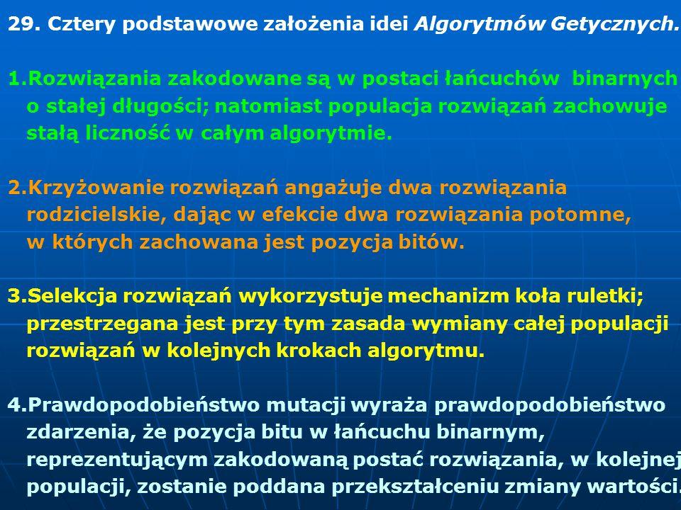 29.Cztery podstawowe założenia idei Algorytmów Getycznych.