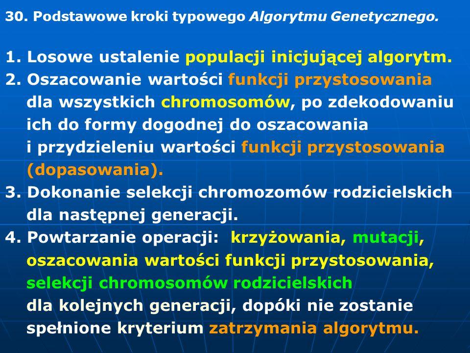 30.Podstawowe kroki typowego Algorytmu Genetycznego.