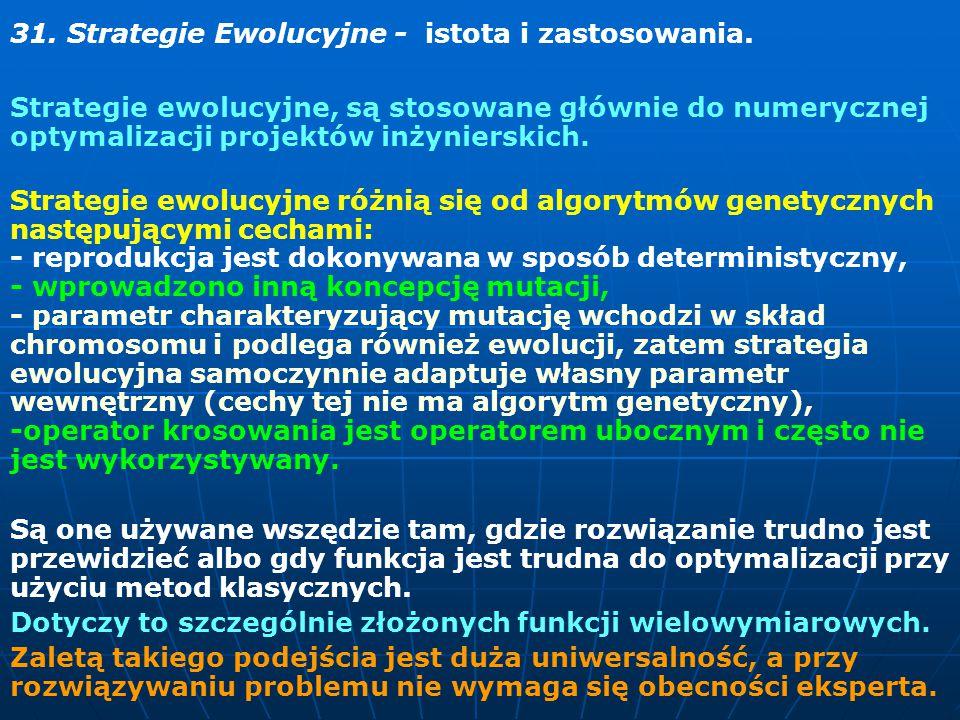 31.Strategie Ewolucyjne - istota i zastosowania.