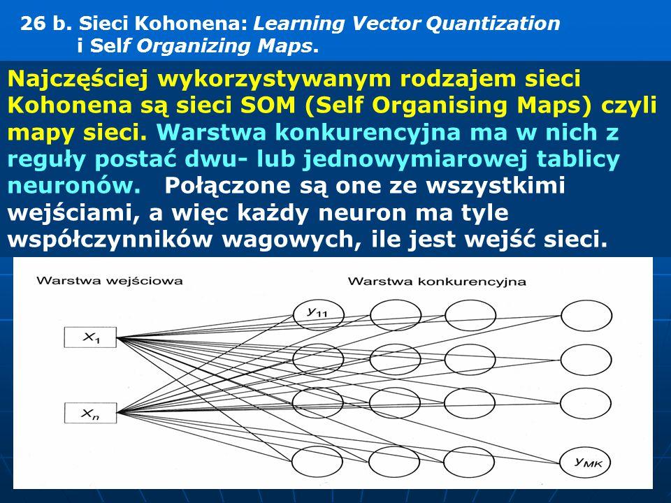 Najczęściej wykorzystywanym rodzajem sieci Kohonena są sieci SOM (Self Organising Maps) czyli mapy sieci. Warstwa konkurencyjna ma w nich z reguły pos
