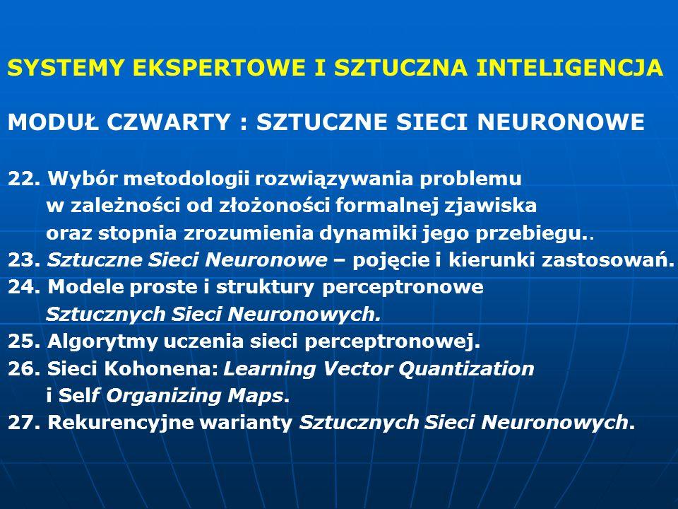 SYSTEMY EKSPERTOWE I SZTUCZNA INTELIGENCJA MODUŁ CZWARTY : SZTUCZNE SIECI NEURONOWE 22. Wybór metodologii rozwiązywania problemu w zależności od złożo