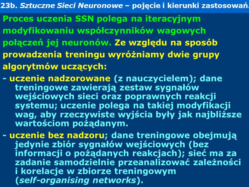 23b. Sztuczne Sieci Neuronowe – pojęcie i kierunki zastosowań. Proces uczenia SSN polega na iteracyjnym modyfikowaniu współczynników wagowych połączeń