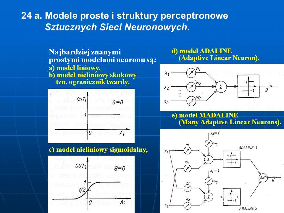 24 a. Modele proste i struktury perceptronowe Sztucznych Sieci Neuronowych. Najbardziej znanymi prostymi modelami neuronu są: a) model liniowy, b) mod