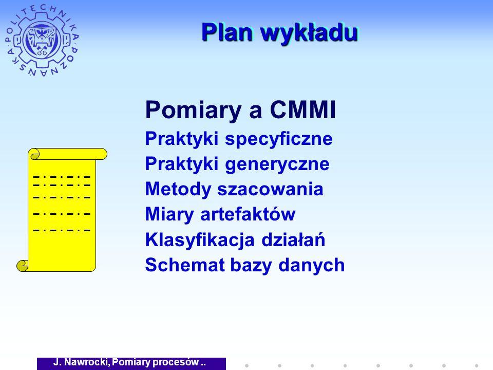 J. Nawrocki, Pomiary procesów.. Plan wykładu Pomiary a CMMI Praktyki specyficzne Praktyki generyczne Metody szacowania Miary artefaktów Klasyfikacja d