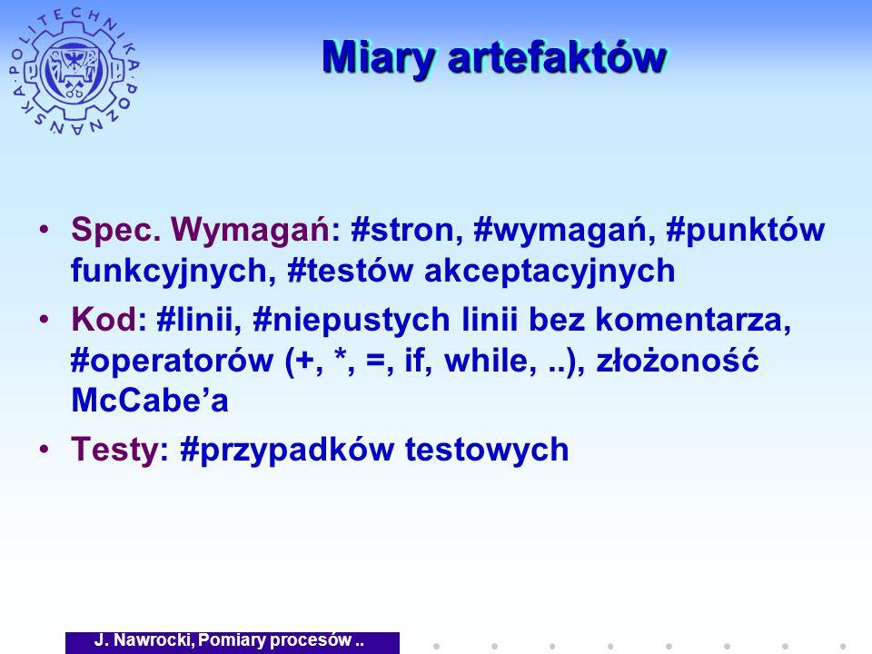 J. Nawrocki, Pomiary procesów.. Miary artefaktów Spec.