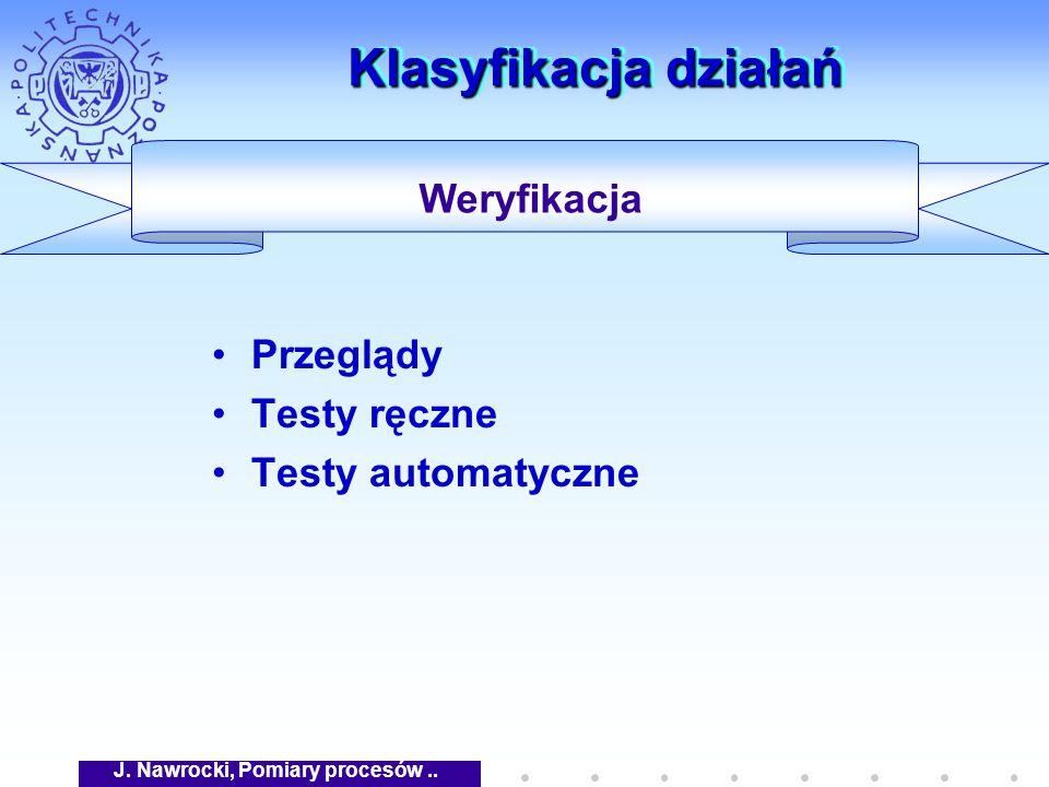 J. Nawrocki, Pomiary procesów.. Klasyfikacja działań Przeglądy Testy ręczne Testy automatyczne Weryfikacja