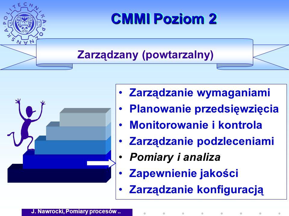 J. Nawrocki, Pomiary procesów.. CMMI Poziom 2 Zarządzanie wymaganiami Planowanie przedsięwzięcia Monitorowanie i kontrola Zarządzanie podzleceniami Po