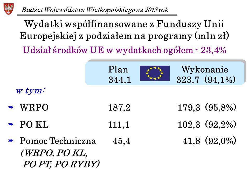 Plan Wykonanie 344,1 323,7 (94,1%) Plan Wykonanie 344,1 323,7 (94,1%)  WRPO 187,2 179,3 (95,8%)  PO KL 111,1 102,3 (92,2%)  Pomoc Techniczna 45,4 4