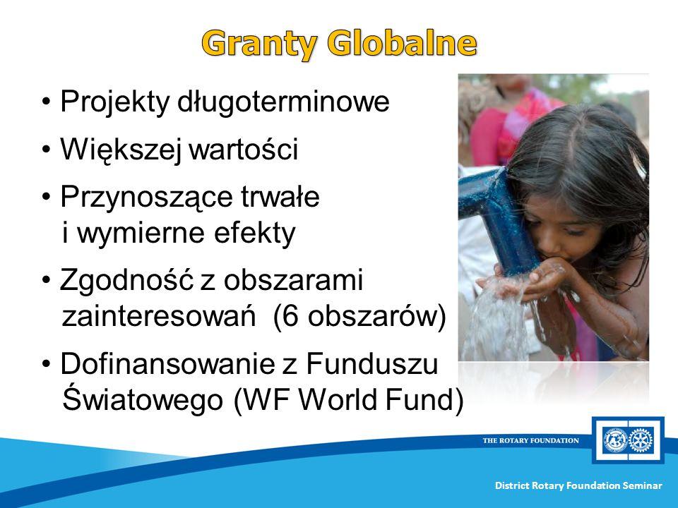 District Rotary Foundation Seminar Projekty długoterminowe Większej wartości Przynoszące trwałe i wymierne efekty Zgodność z obszarami zainteresowań (