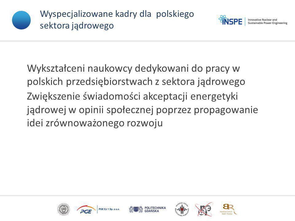 Wyspecjalizowane kadry dla polskiego sektora jądrowego Wykształceni naukowcy dedykowani do pracy w polskich przedsiębiorstwach z sektora jądrowego Zwiększenie świadomości akceptacji energetyki jądrowej w opinii społecznej poprzez propagowanie idei zrównoważonego rozwoju