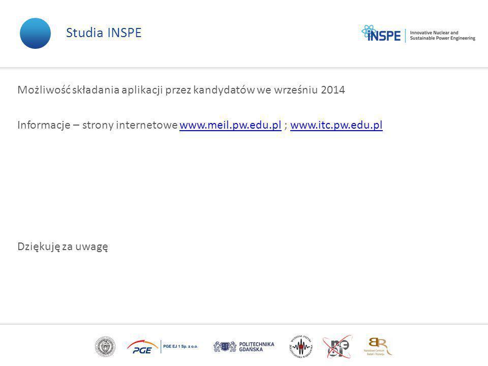 Możliwość składania aplikacji przez kandydatów we wrześniu 2014 Informacje – strony internetowe www.meil.pw.edu.pl ; www.itc.pw.edu.plwww.meil.pw.edu.plwww.itc.pw.edu.pl Dziękuję za uwagę Studia INSPE