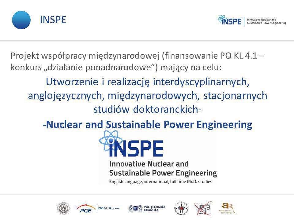 """Projekt współpracy międzynarodowej (finansowanie PO KL 4.1 – konkurs """"działanie ponadnarodowe ) mający na celu: Utworzenie i realizację interdyscyplinarnych, anglojęzycznych, międzynarodowych, stacjonarnych studiów doktoranckich- -Nuclear and Sustainable Power Engineering INSPE"""