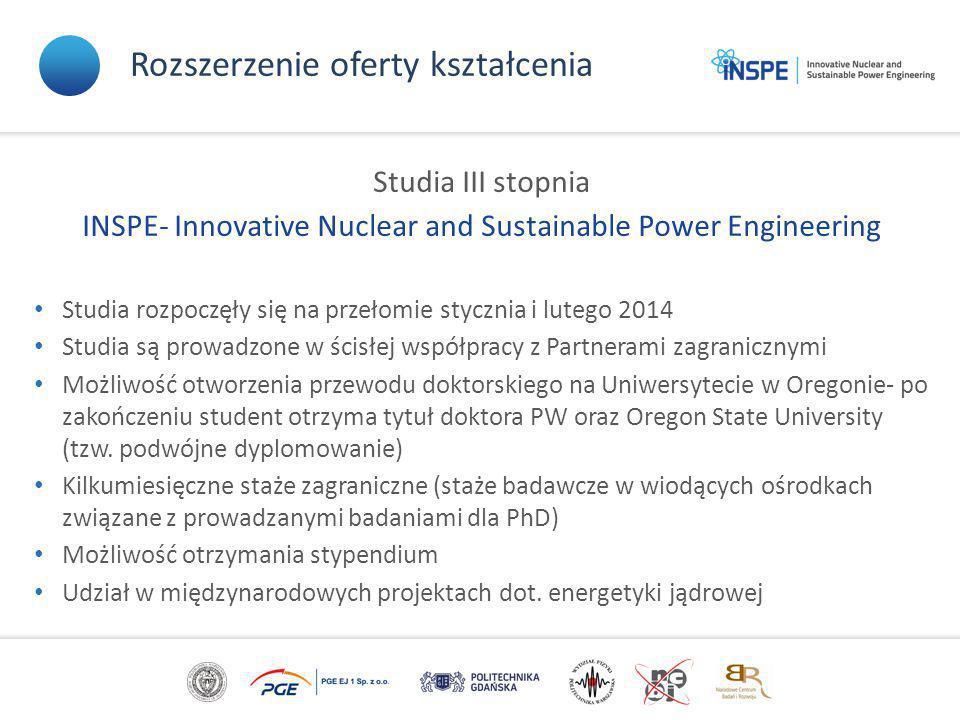 Rozszerzenie oferty kształcenia Studia III stopnia INSPE- Innovative Nuclear and Sustainable Power Engineering Studia rozpoczęły się na przełomie styc