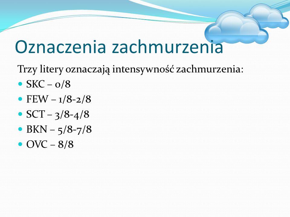 Oznaczenia zachmurzenia Trzy litery oznaczają intensywność zachmurzenia: SKC – 0/8 FEW – 1/8-2/8 SCT – 3/8-4/8 BKN – 5/8-7/8 OVC – 8/8