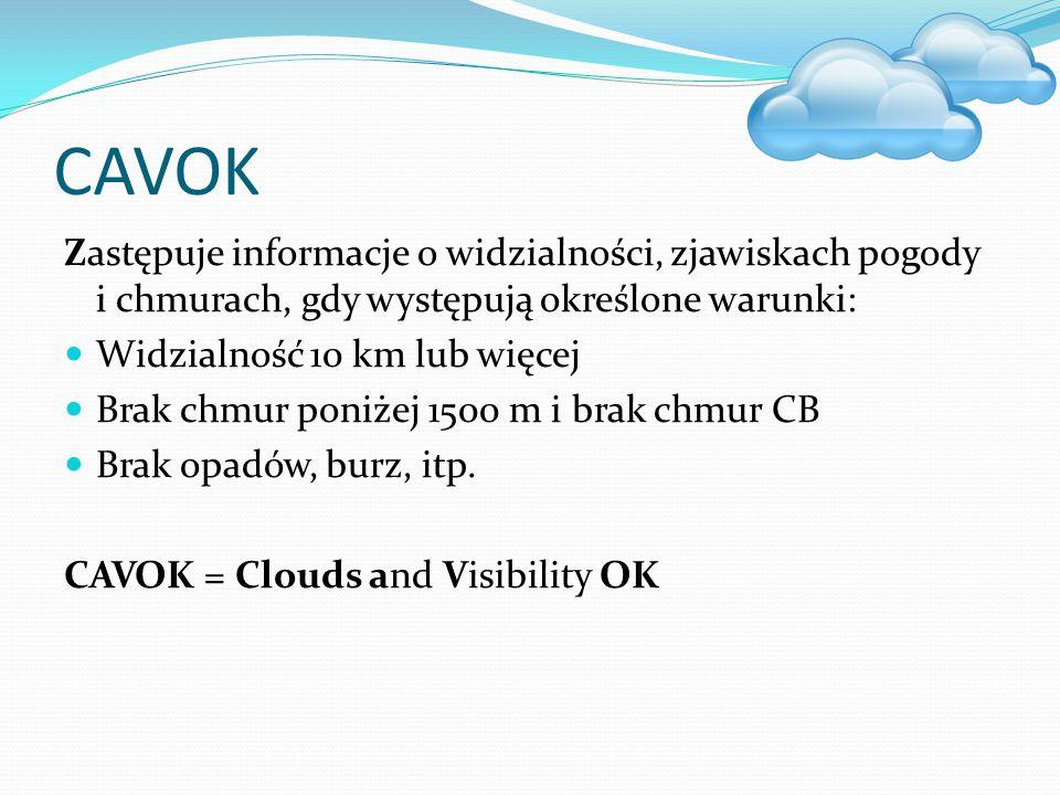 CAVOK Zastępuje informacje o widzialności, zjawiskach pogody i chmurach, gdy występują określone warunki: Widzialność 10 km lub więcej Brak chmur poni