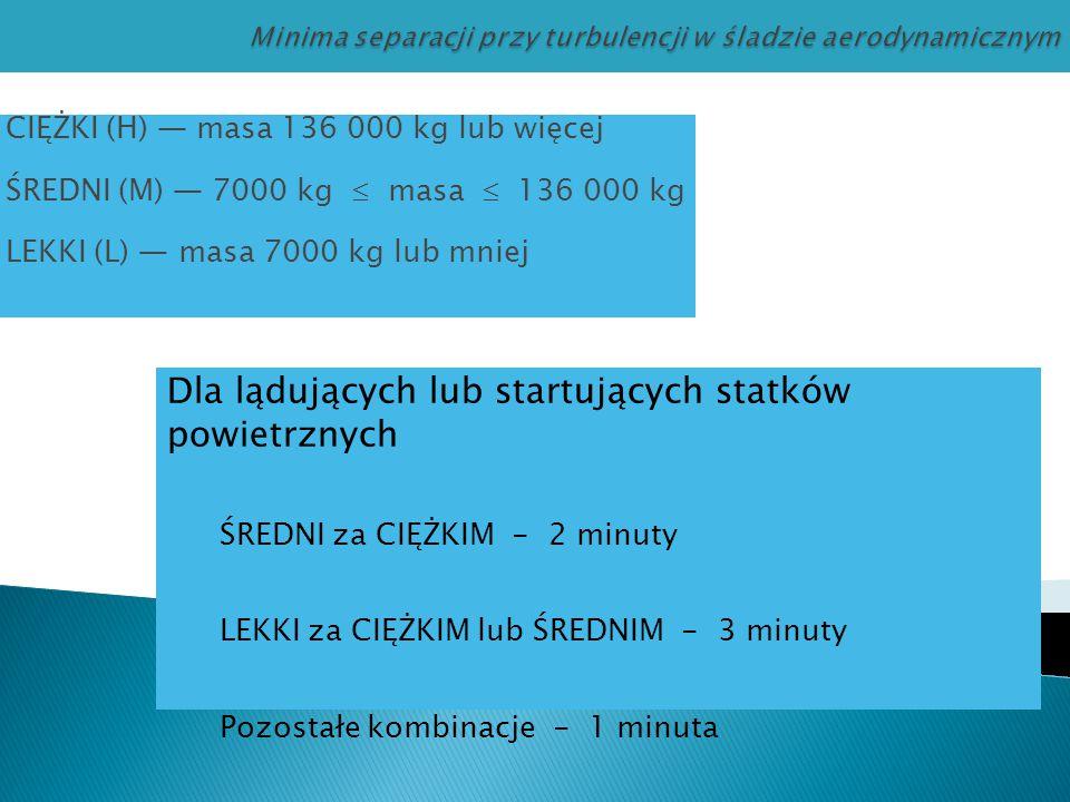 CIĘŻKI (H) — masa 136 000 kg lub więcej ŚREDNI (M) — 7000 kg  masa  136 000 kg LEKKI (L) — masa 7000 kg lub mniej Dla lądujących lub startujących st