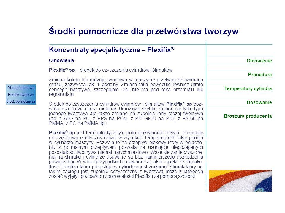 Plexifix ® sp – omówienie (1/1) Środki pomocnicze dla przetwórstwa tworzyw Koncentraty specjalistyczne – Plexifix ® Omówienie Plexifix ® sp – środek d
