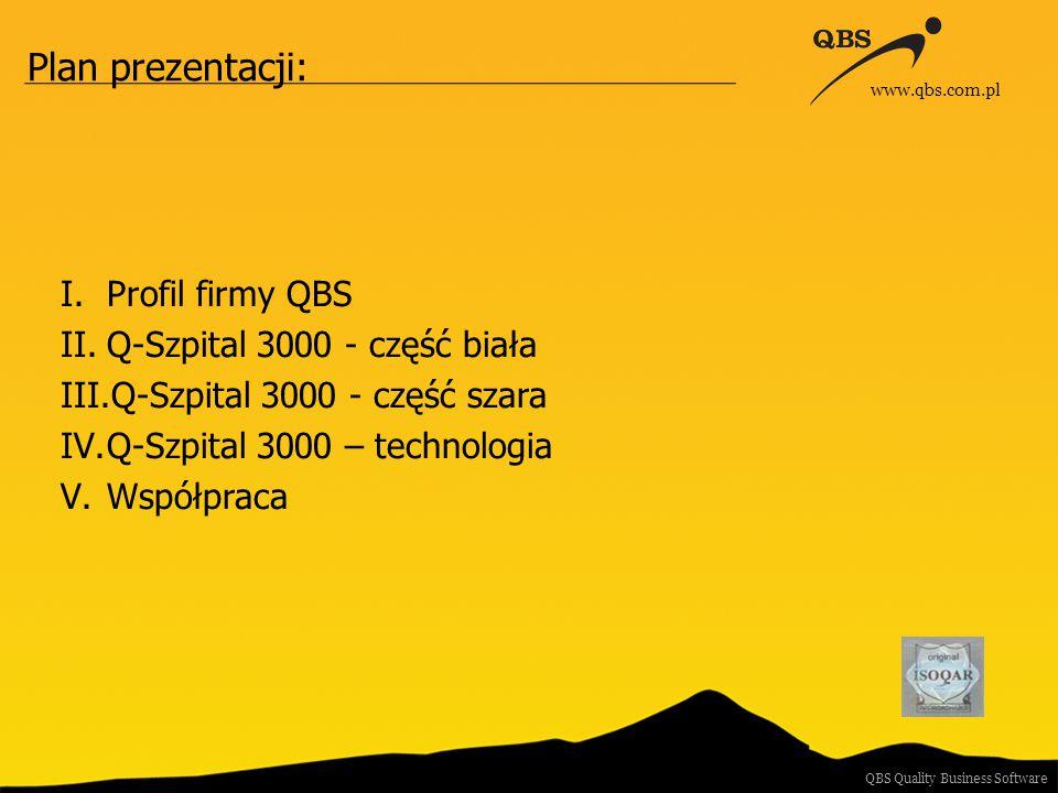 Plan prezentacji: I.Profil firmy QBS II.Q-Szpital 3000 - część biała III.Q-Szpital 3000 - część szara IV.Q-Szpital 3000 – technologia V.Współpraca QBS Quality Business Software www.qbs.com.pl