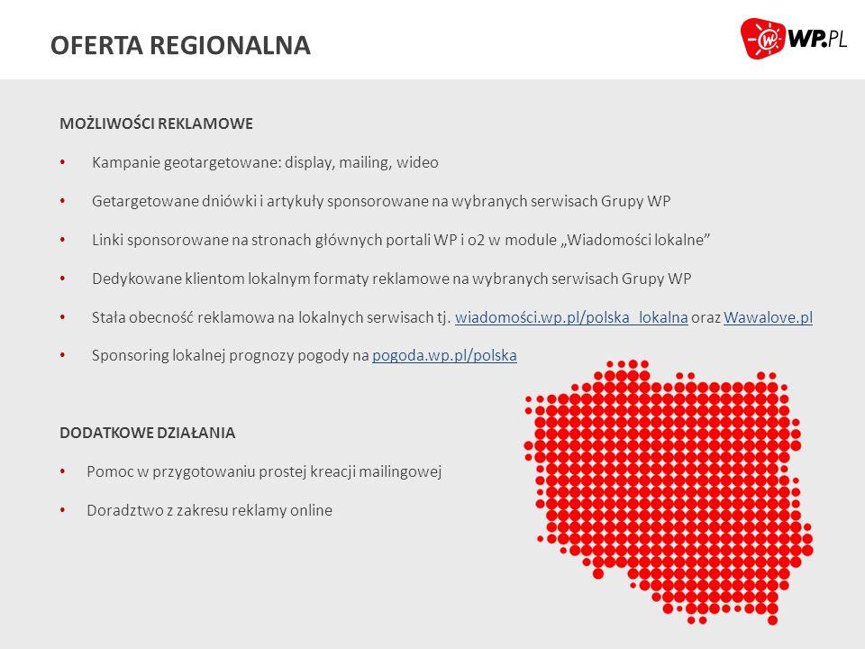 OFERTA REGIONALNA MOŻLIWOŚCI REKLAMOWE Kampanie geotargetowane: display, mailing, wideo Getargetowane dniówki i artykuły sponsorowane na wybranych ser