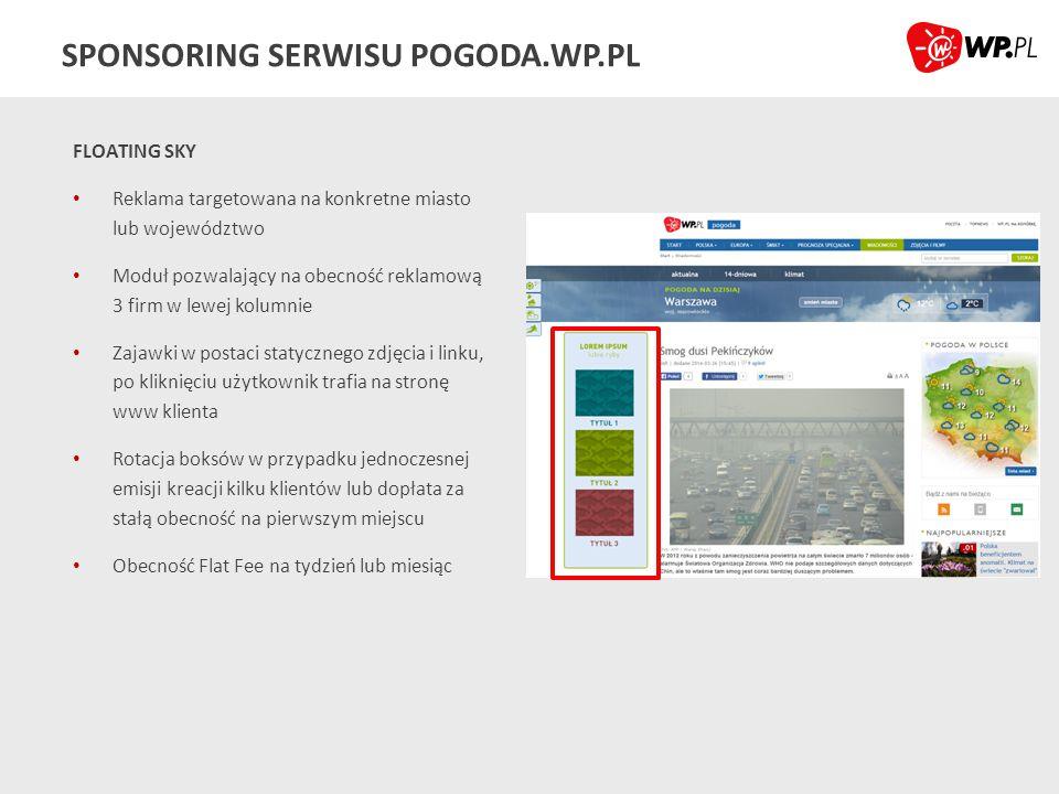 SPONSORING SERWISU POGODA.WP.PL FLOATING SKY Reklama targetowana na konkretne miasto lub województwo Moduł pozwalający na obecność reklamową 3 firm w