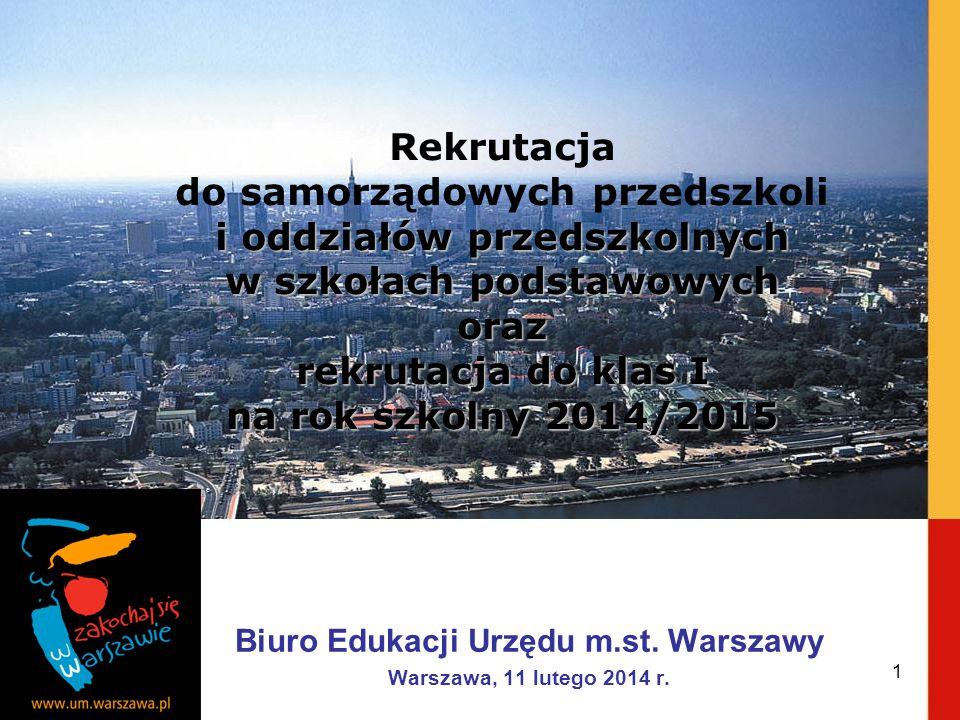 Biuro Edukacji Urzędu m.st. Warszawy Warszawa, 11 lutego 2014 r. i oddziałów przedszkolnych w szkołach podstawowych oraz Rekrutacja do samorządowych p