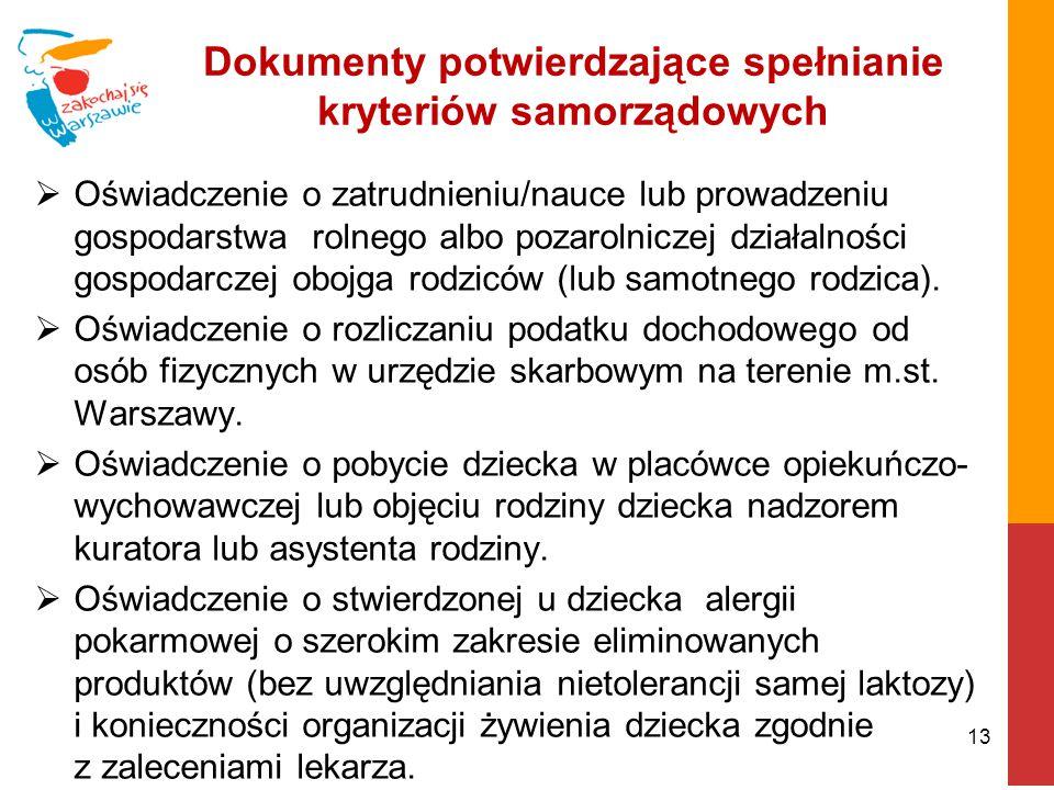 Dokumenty potwierdzające spełnianie kryteriów samorządowych  Oświadczenie o zatrudnieniu/nauce lub prowadzeniu gospodarstwa rolnego albo pozarolnicze
